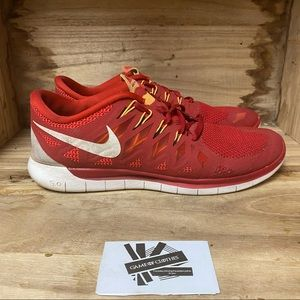 Nike free run 5.0 red running sneakers shoes